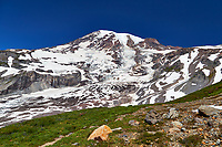 View of Mount Rainier from a hiking trail near Paradise in Mount Rainier National Park, Washington, USA
