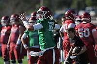 NWA Democrat-Gazette/ANDY SHUPE<br /> Arkansas quarterback Cole Kelley passes Tuesday, March 28, 2017, during spring practice at the UA practice facility in Fayetteville.