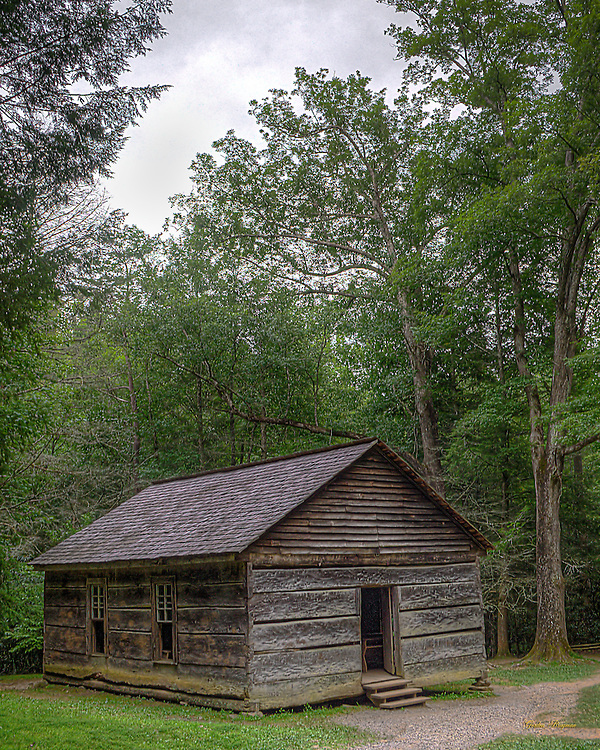 HDR image of the Little Greenbrier Schoolhouse in the Great Smoky Mountains National Park.