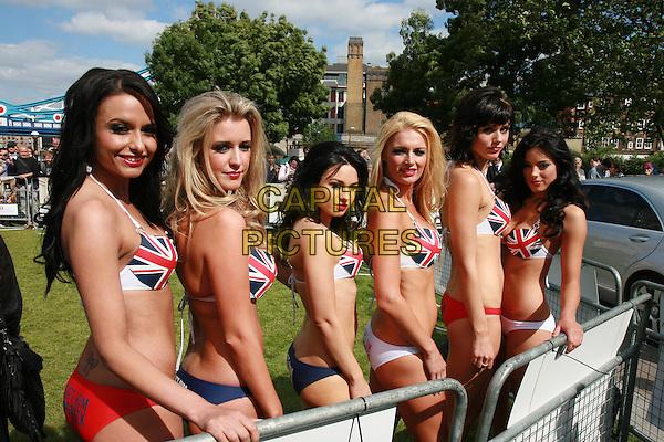 "MODELS .At a photocall for ""Get Him To The Greek"", Tower Bridge, London, England, UK, June 20th 2010..half length girls union jack flags print tops top bikini bikinis .CAP/MAR.© Martin Harris/Capital Pictures."