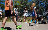 02 JUN 2013 - MADRID, ESP - Spectators wait for competitors ride to the top of the hill during the men's ITU 2013 World Triathlon Series round held in Casa de Campo in Madrid, Spain  <br /> (PHOTO (C) 2013 NIGEL FARROW)