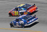 May 6, 2007; Richmond, VA, USA; Nascar Nextel Cup Series driver Jeff Gordon (24) leads Kurt Busch (2) during the Jim Stewart 400 at Richmond International Raceway. Mandatory Credit: Mark J. Rebilas