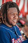 31 May 2018: New Hampshire Fisher Cats third baseman Vladimir Guerrero Jr. looks out from the dugout during a game against the Portland Sea Dogs at Northeast Delta Dental Stadium in Manchester, NH. The Sea Dogs defeated the Fisher Cats 12-9 in extra innings. Mandatory Credit: Ed Wolfstein Photo *** RAW (NEF) Image File Available ***