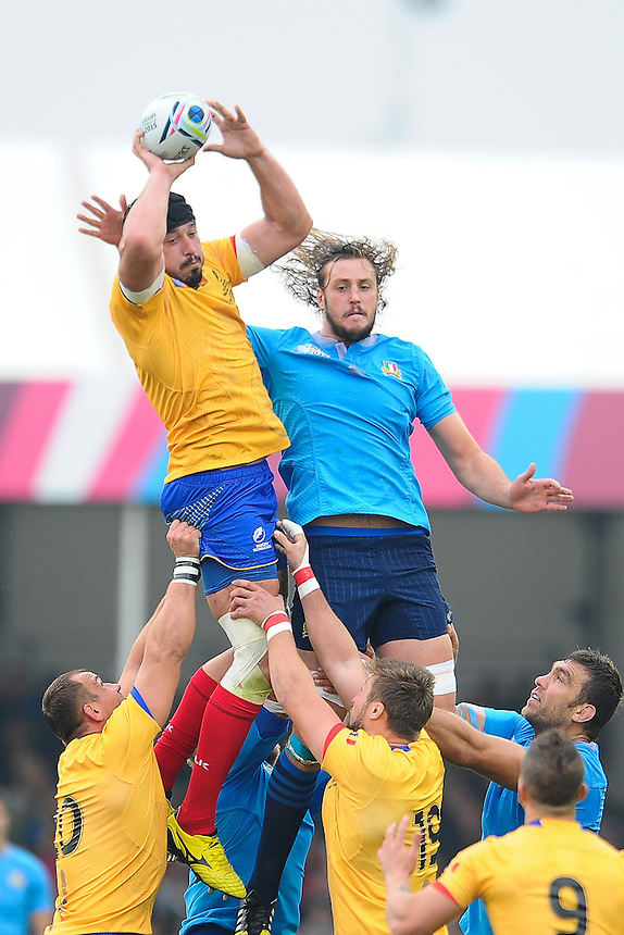 Romania's Johann Van Heerden takes clean lineout ball<br /> <br /> Photographer Craig Thomas/CameraSport<br /> <br /> Rugby Union - 2015 Rugby World Cup Pool D - Italy v Romania - Sunday 11th October 2015 - Sandy Park, Exeter <br /> <br /> &copy; CameraSport - 43 Linden Ave. Countesthorpe. Leicester. England. LE8 5PG - Tel: +44 (0) 116 277 4147 - admin@camerasport.com - www.camerasport.com