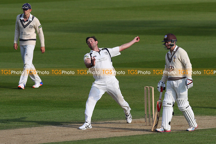 James Franklin in bowling action for Middlesex during Surrey CCC vs Middlesex CCC, Friendly Match Cricket at the Kia Oval on 22nd March 2016