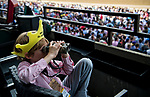 ELMONT, NY - JUNE 09: A young fan views a race during Belmont Stakes Day at Belmont Park on June 9, 2018 in Elmont, New York. (Photo by Scott Serio/Eclipse Sportswire/Getty Images)