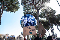 Rome, Italy, March 15, 2019. Students gather in protest to demand action on climate change. Students worldwide are skipping class Friday to take to the streets to protest their governments' failure to take sufficient action against global warming.