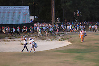 PINEHURST, NC - JUNE 15: Kaymer applauds the crowd while approaching the 18th green. Fowler follows. Scenes from the U.S. Open Championship at Pinehurst, North Carolina on Sunday, June 15, 2014. (Photo by Landon Nordeman)