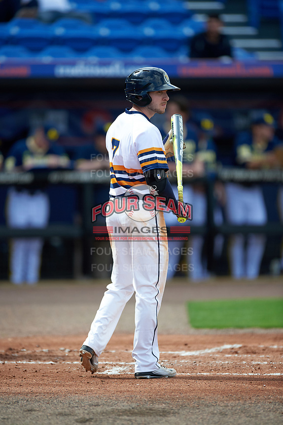 Canisius College Golden Griffins shortstop Anthony Massicci (7) at bat during the second game of a doubleheader against the Michigan Wolverines on February 20, 2016 at Tradition Field in St. Lucie, Florida.  Michigan defeated Canisius 3-0.  (Mike Janes/Four Seam Images)