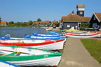 Boating lake with rowing boats at Thorpness Village  - Near Aldeburgh - Suffolk