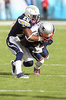 10/24/10 San Diego, CA: San Diego Chargers cornerback Antoine Cason #20 and New England Patriots wide receiver Brandon Tate #19 during an NFL game played at Qualcomm Stadium between the San Diego Chargers and the New England Patriots. The Patriots defeated the Chargers 23-20.