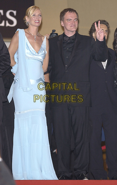UMA THURMAN & QUENTIN TARANTINO.Kill Bill 2 party at the Kabarets Prophecy Club, .Cannes Film festival, France, 16th May 2004..full length long blue and silver beaded dress peace sign gesture.Ref: PL.www.capitalpictures.com.sales@capitalpictures.com.©Capital Pictures