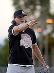 POWAY, CA - JULY 16:  Quarterback Philip Rivers of the San Diego Chargers signals for an out for his team the &quot;Valley Farm League&quot;  during their semi-final game in the Regular Joe League at the Poway Sportsplex Softball Field on July 16, 2014 in Poway, California. (CREDIT: Donald Miralle for the Wall Street Journal) <br /> chargers