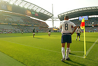 Earnie Stewart prepares to take a corner kick. The USA defeated Mexico 2-0 in the Round of 16 of the FIFA World Cup 2002 in South Korea on June 17, 2002.
