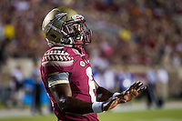 TALLAHASSEE, FLA. 9/5/15-Florida State quarterback Everett Golson warms up for his debut as a Seminole against Texas State University at Doak Campbell Stadium in Tallahassee.<br /> <br /> COLIN HACKLEY PHOTO
