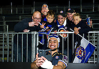 Leroy Houston of Bath Rugby poses for a post-match selfie with supporters. European Rugby Challenge Cup match, between Bath Rugby and Bristol Rugby on October 20, 2016 at the Recreation Ground in Bath, England. Photo by: Patrick Khachfe / Onside Images