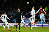 Alfie Mawson of Swansea City and Sam Vokes of Burnley during the Premier League match between Burnley and Swansea City at Turf Moor, Burnley, England, UK. Saturday 18 November 2017