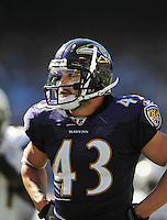 Sep. 20, 2009; San Diego, CA, USA; Baltimore Ravens safety (43) Haruki Nakamura against the San Diego Chargers at Qualcomm Stadium in San Diego. Baltimore defeated San Diego 31-26. Mandatory Credit: Mark J. Rebilas-