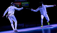 BOGOTA – COLOMBIA – 28 – 05 – 2017: Marco Fichera (Izq.) de Italia, combate con Bogdam Nikishin (Der.) de Ucrania, durante la Final de Varones Mayores Epee del Gran Prix de Espada Bogota 2017, que se realiza en el Centro de Alto Rendimiento en Altura, del 26 al 28 de mayo del presente año en la ciudad de Bogota.  / Marco Fichera (L) from Italy, fights with Bogdam Nikishin (R) from Ukraine, during the Final Senior Men´s Epee of the Grand Prix of Espada Bogota 2017, that takes place in the Center of High Performance in Height, from the 26 to the 28 of May of the present year in The city of Bogota.  / Photo: VizzorImage / Luis Ramirez / Staff.