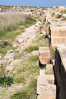 Leptis Magna, Libya - Port, Ship Docks, showing Stone Rings for Tying up Boats, Silted-up Harbor