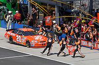 Apr 29, 2007; Talladega, AL, USA; Nascar Nextel Cup Series driver Tony Stewart (20) pits during the Aarons 499 at Talladega Superspeedway. Mandatory Credit: Mark J. Rebilas