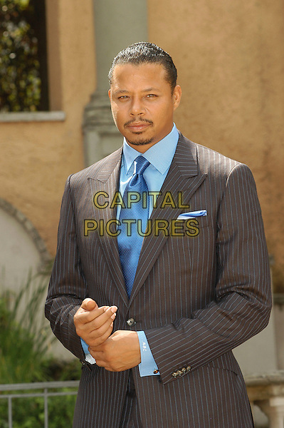 "TERRENCE HOWARD.Photocall for ""The Brave One"", Rome, Italy..September 17th, 2007.half length jacket grey gray blue pinstripe .CAP/CAV.©Luca Cavallari/Capital Pictures."