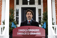 Prime Minister Trudeau speaks with Media outside of Rideau Cottage. April 24, 2020.
