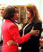 United States Representative Maxine Waters (Democrat of California),left, lends support to Susan McDougal, right, before the latter testified before the U.S. House Judiciary Subcommittee on Commercial and Administrative Law in Washington, D.C. on September 23, 1999..Credit: Ron Sachs / CNP