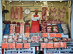 Butcher mobile van meat display at Ipswich market, Suffolk, England