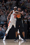 Terrence Thompson (20) of the Wake Forest Demon Deacons secures the ball in front of Paschal Chukwu (13) of the Syracuse Orange during second half action at the LJVM Coliseum on January 3, 2018 in Winston-Salem, North Carolina.  The Demon Deacons defeated the Orange 73-67.  (Brian Westerholt/Sports On Film)