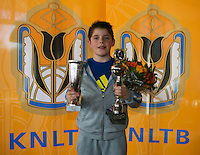 Rotterdam, The Netherlands, 07.03.2014. NOJK ,National Indoor Juniors Championships of 2014, 12and 16 years, Winner boys 12 years Jens Hoogendam (NED) <br /> Photo:Tennisimages/Henk Koster