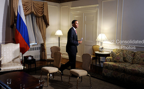 New York, NY - September 23, 2009 -- United States President Barack Obama is the last to exit the room after a bilateral meeting with President Dimitri Medvedev of Russia at the Waldorf Astoria on Wednesday, September 23, 2009 in New York..Credit: Olivier Douliery - Pool via CNP