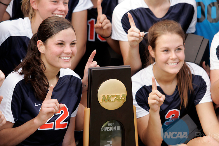 24 NOV 2007: Defender Kira Davis (22) and Mid-fielder Jami Herrmann (3) of Wheaton Collegeduring the Division III Women's Soccer Championship held at Disney's Wide World of Sports Complex in Orlando, FL. Wheaton won their second straight championship with a 1-0 win over Messiah College. Chris Livingston/NCAA Photos