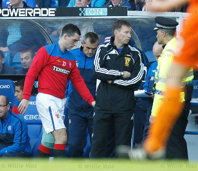 Lee Wallace limps off with an injury