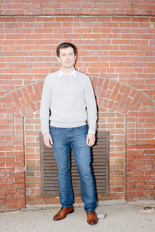 Democratic presidential candidate Pete Buttigieg poses for a portrait in downtown Concord after speaking at a campaign event at Gibson's Bookstore in Concord, New Hampshire, USA, on Sat., Apr. 6, 2019. Buttigieg is the mayor of South Bend, Indiana, and was widely considered a long-shot candidate until his appearance in a CNN town hall in March 2019 which catapulted his campaign to prominence and substantial donations.