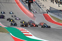 3rd November 2019; Circuit of the Americas, Austin, Texas, United States of America; Formula 1 United Sates Grand Prix, race day; Mercedes AMG Petronas Motorsport, Valtteri Bottas leads the race start as Vettel and Verstappen fight it out for 2nd place into corner 1