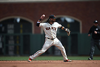 SAN FRANCISCO, CA - APRIL 29:  Brandon Crawford #35 of the San Francisco Giants makes a play at shortstop against the Los Angeles Dodgers during the game at AT&T Park on Sunday, April 29, 2018 in San Francisco, California. (Photo by Brad Mangin)