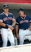 Boston Red Sox Phil Plantier and Wade Boggs during spring training circa 1992 at Chain of Lakes Park in Winter Haven, Florida.  (MJA/Four Seam Images)