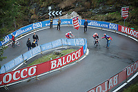 Lars Bak (DNK/Lotto-Belisol) getting some moral (and other) support by the fans up the very steep final km of the Val Martello climb (2059m)                  <br /> <br /> 2014 Giro d'Italia <br /> stage 16: Ponte di Legno - Val Martello (139km)
