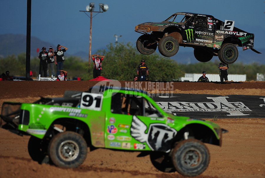 Apr 16, 2011; Surprise, AZ USA; LOORRS driver Jeremy McGrath (2) and Nick Tyree (91) during round 3 at Speedworld Off Road Park. Mandatory Credit: Mark J. Rebilas-