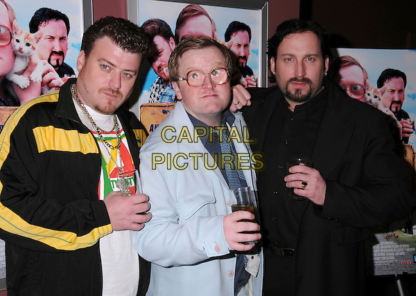 "ROBB WELLS, MIKE SMITH & JOHN PAUL TREMBLAY.""Trailer Park Boys: The Movie"" Los Angeles Premiere at the Laemmle's Sunset 5 Theatre, West Hollywood, California, USA..January 23rd, 2008.full length black jacket blue drink beverage glass goatee facial hair glasses big eyes funny face .CAP/ADM/BP.©Byron Purvis/AdMedia/Capital Pictures."