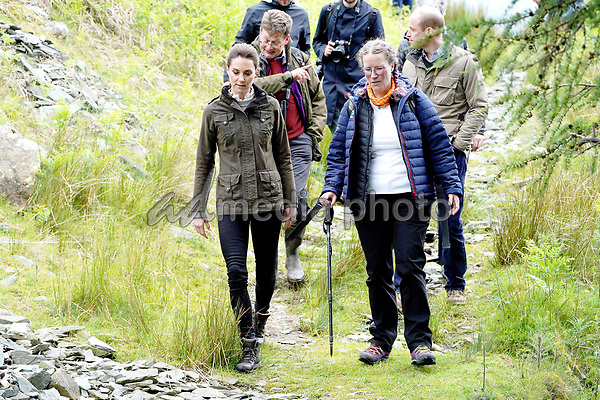 Prince William Duke of Cambridge and Kate Duchess of Cambridge Katherine Catherine Middleton walk along footpaths during a visit to Deepdale Hall Farm, a traditional fell sheep farm, in Patterdale, Cumbria. Photo Credit: ALPR/AdMedia
