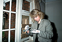 Scenes of crime officer dusting for fingerprints on a broken window after burglars broke in and stole computer equipment. She is using a brush with magnesium powder to highlight the prints. This image may only be used to portray the subject in a positive manner..©shoutpictures.com..john@shoutpictures.com