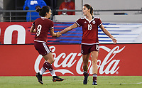 Jacksonville, FL - Thursday April 5, 2018: Ariana Calderón, Katie Johnson celebrate a goalAriana Calderón, Katie Johnson during an International friendly match versus the women's National teams of the United States (USA) and Mexico (MEX) at EverBank Field.