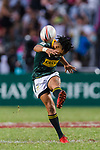 Selvyn Davids of South Africa kicks the ball during the HSBC Hong Kong Sevens 2018 Bronze Medal Final match between South Africa and New Zealand on 08 April 2018 in Hong Kong, Hong Kong. Photo by Marcio Rodrigo Machado / Power Sport Images