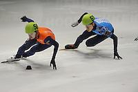 SHORTTRACK: DORDRECHT: Sportboulevard Dordrecht, 25-01-2015, ISU EK Shorttrack, Relay Men Final, Itzhak DE LAAT (NED | #50), Semen ELISTRATOV (RUS | #61), ©foto Martin de Jong