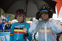 Sanne Cant (BEL) &amp; Ellen Van Loy (BEL/Telenet-Fidea) sheltering under an umbrella on the startgrid<br /> <br /> Elite Women's race<br /> UCI 2016 cyclocross World Championships
