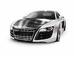 2014 Audi Quattro R8 twin-turbo limited edition sports car supercar with carbon fiber hood isolated on white background with clipping path