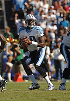 Sept. 17, 2006; San Diego, CA, USA; Tennessee Titans quarterback (10) Vince Young against the San Diego Chargers at Qualcomm Stadium in San Diego, CA. Mandatory Credit: Mark J. Rebilas
