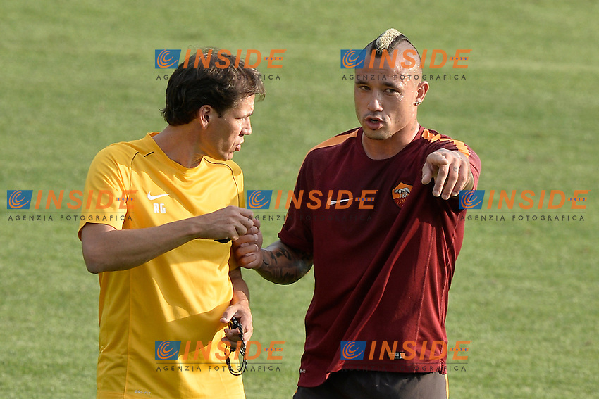 Rudy Garcia e Radja Nainggolan.<br /> Allenamento AS Roma. Football training.<br /> Roma 16-07-2014 Trigoria. Football Calcio 2014/2015 Serie A. AS Roma. Foto Antonietta Baldassarre / Insidefoto